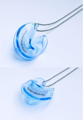 "Heartware Necklace ""Fortune Cookie"" light-blue"