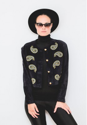 HIPSISTERS Leather embroidered jacket