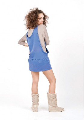 Kawayan Two in One Skirtjumper Beige/ Royal Blue
