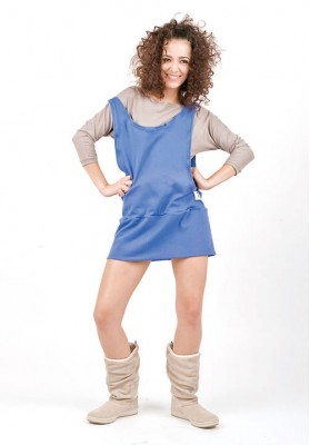 Kawayan Two in One Skirtjumper Beige/ Royal Blue