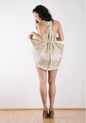 Kawayan Wrinkled Double Sided Satin Dress Mocca-Latte