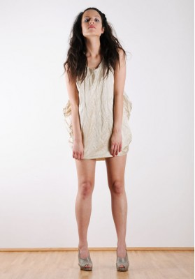 Kawayan Wrinkled Double Sided Satin Dress Marshmallow